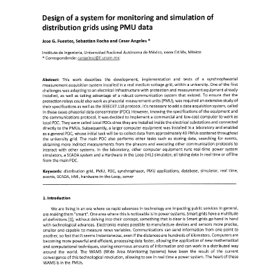 Design of a system for monitoring and simulation of distribution grids using PMU data cover